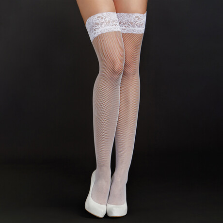 iCollection // Sheer Lace Chemise + Ruffle Trims // White