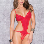 Glitter // Lace Overlay Mesh Teddy // Red