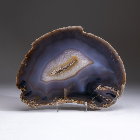 Genuine Polished Blue Banded Agate Slice + Acrylic Display Stand