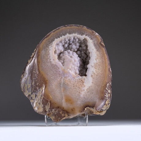 Genuine Agate Geode with White Druzy Quartz Cluster + Acrylic Display Stand