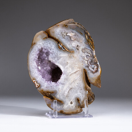 Genuine Agate with Amethyst Geode Center + Acrylic Display Stand