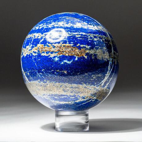 Genuine Polished Lapis Lazuli Sphere + Acrylic Display Stand