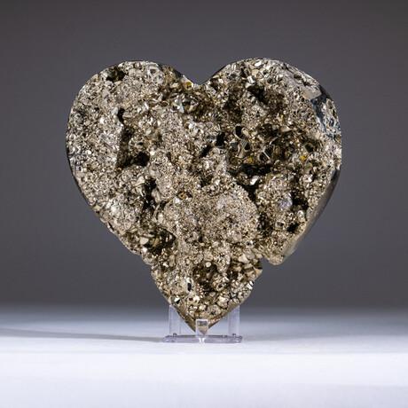 Genuine Pyrite Heart + Acrylic Display Stand