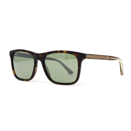 Men's GG0381S Sunglasses // Havana + Green Silver Mirror