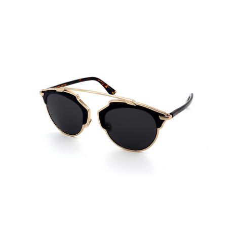 Unisex SO-REAL-L-P7P Round Sunglasses // Gold + Black