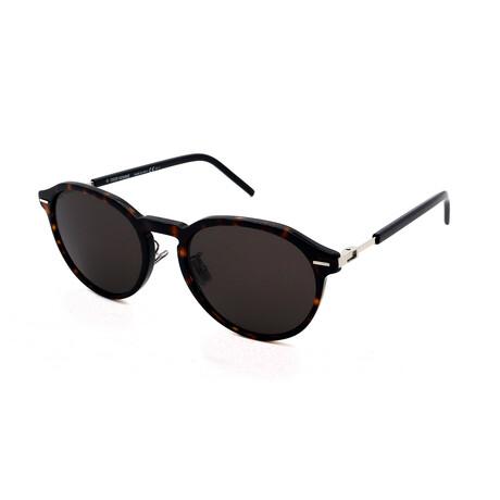 Men's TECHNICITY-7F-86 Round Sunglasses // Brown Havana