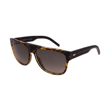 Men's BLACK-TIE-188S-98B Square Sunglasses // Havana Crystal + Brown Havana