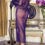 iCollection // Mesh + Feathers Long Robe + G-String // Purple (Small)
