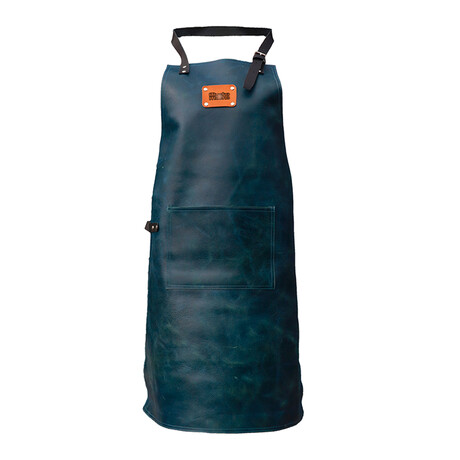 High-End 100% Leather Apron // Vintage Midnight Blue