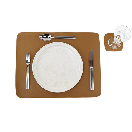 Buffalo Leather Placemat + Coaster Set // Cognac