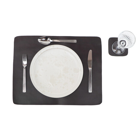 Buffalo Leather Placemat + Coaster Set // Brown