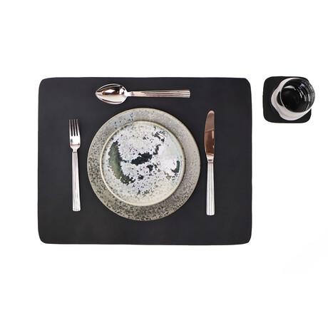 Buffalo Leather Placemat + Coaster Set // Black