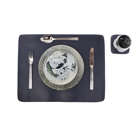 Buffalo Leather Placemat + Coaster Set // Navy