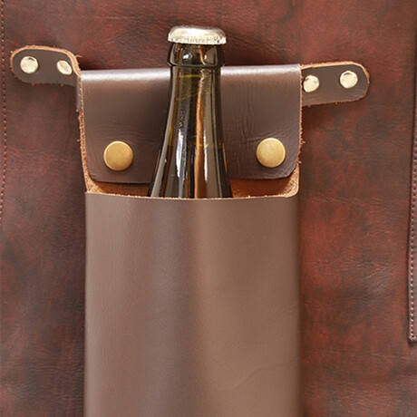 Buffalo Leather Beer Holder Apron Accessory // Brown