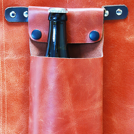Buffalo Leather Beer Holder Apron Accessory // Vintage Cognac