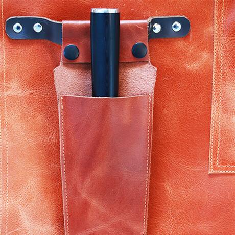 Buffalo Leather Knife Holder Apron Accessory // Vintage Cognac
