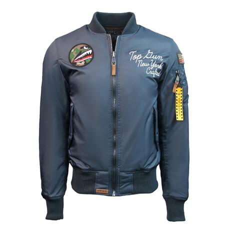 "MA-1 ""Lady Luck"" Reversible Bomber Jacket // Blue (XS)"