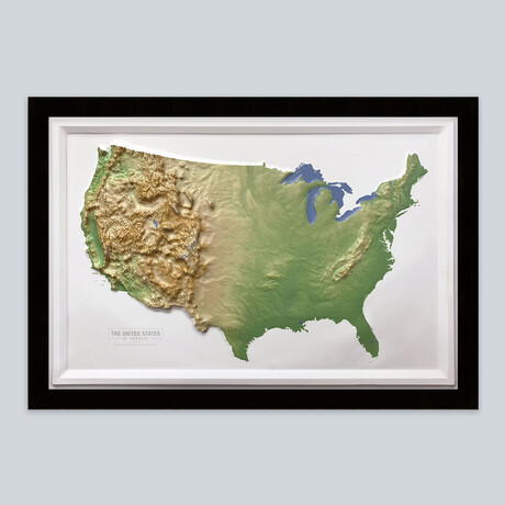 United States 3D Raised Relief Map // Natural