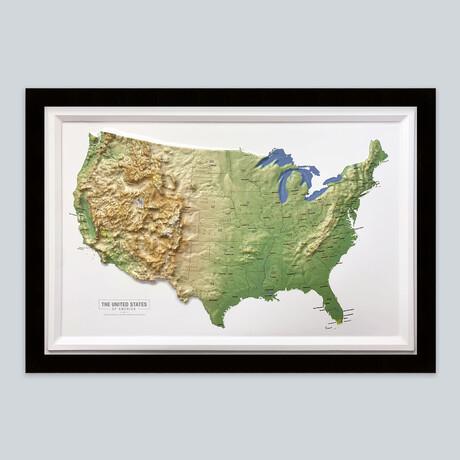 United States 3D Raised Relief Map // Classic