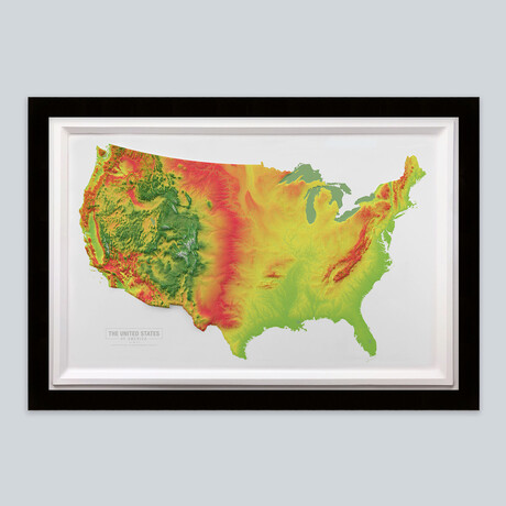 United States 3D Raised Relief Map // Warm