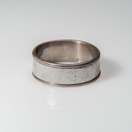 Genuine Polished Muonionalusta Meteorite Ring // Size 9