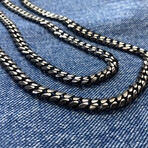 """Black Detailed Curb Chain Necklace (18"""" // 49.2g)"""
