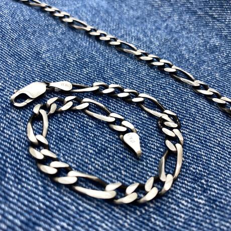 """Detailed Figaro Chain Bracelet (7"""" // 8.4g)"""