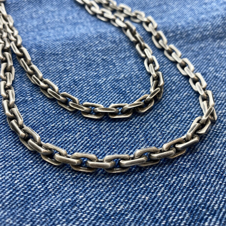 """Rectangle Cable Chain Necklace (18"""" // 45.5g)"""