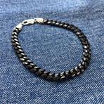 Black Detailed Curb Chain Bracelet