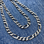 """Detailed Figaro Chain Necklace (17"""" // 21.5g)"""