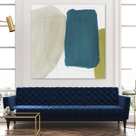 """Beige And Navy Abstract (54""""H x 54""""W x 1.5""""D)"""
