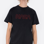 NASA Worm Red Outline T-Shirt // Black (Small)