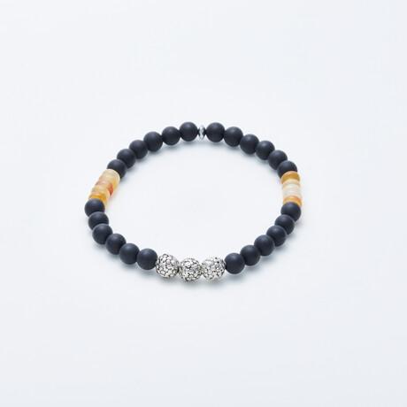Delle Arte // Onyx + Cornelian Stretch Bracelet // Multicolor