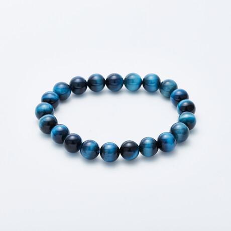 Jean Claude Jewelry // Tanzanian Dyed Tiger Eye Beaded Bracelet // Ocean