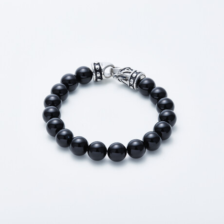Jean Claude Jewelry // Shiny Onyx Bead Bracelet // Black + Silver
