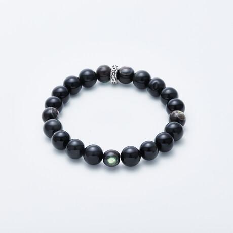 Dell Arte // Eye Of Soul Tanzanian Obsidian Beaded Bracelet // Multicolor