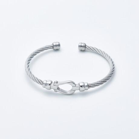 Dell Arte // Cable Bangle + Horseshoe Closure // Silver