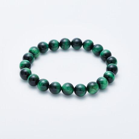 Jean Claude Jewelry // Tanzanian Dyed Tiger Eye Beaded Bracelet // Green