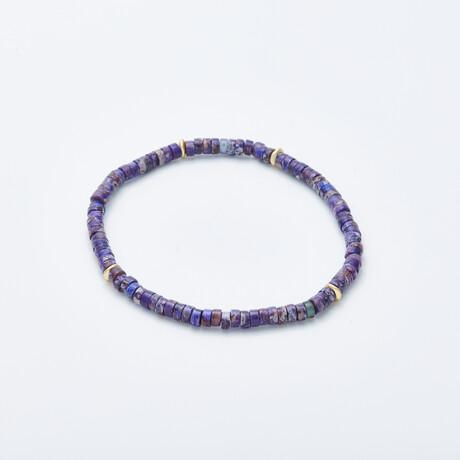 Jean Claude Jewelry // Stretchable Ranel Multicolor Stone Beaded Bracelet // Blue