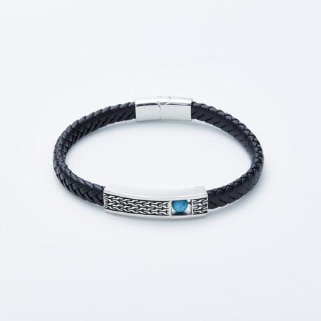 Dell Arte // Braided Leather Bracelet + Rotating Aqua Magnesite Bead // Black + Silver + Blue