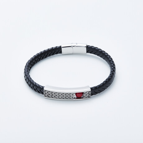 Dell Arte // Braided Leather Bracelet + Rotating Coral Bead // Black + Silver + Red