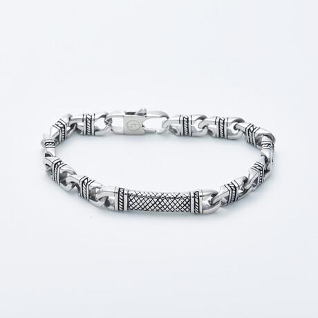 Delle Arte // Incrusted Link Chain Bracelet // Silver