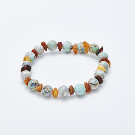 Dell Arte // Natural Baltic Amber + Malavian Dragon Agate Bracelet // Multicolor