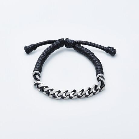 Jean Claude Jewelry // Leather + Stainless Steel Chain Bracelet // Black + Silver