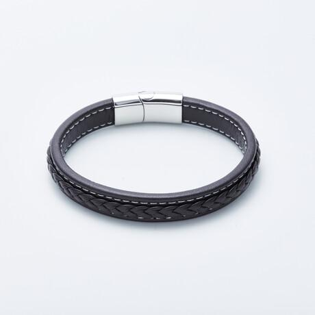 Jean Claude Jewelry // Stitched Leather Closure Bracelet // Dark Brown