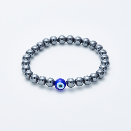 Jean Claude Jewelry // Eye Of Protection Hematite Beaded Bracelet // Silver + Blue