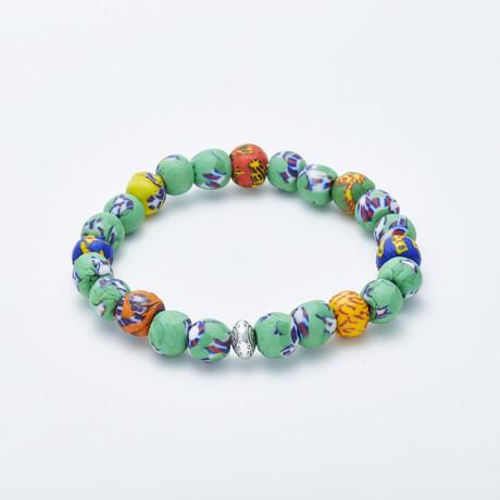 Dell Arte // Krobo Green Life Bead Bracelet // Multicolor