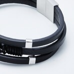 Dell Arte // Feather Charm Wrap Bracelet // Black + Silver