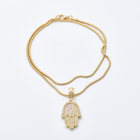 Dell Arte // Stainless Steel Hamsa Pendant // Gold Plated