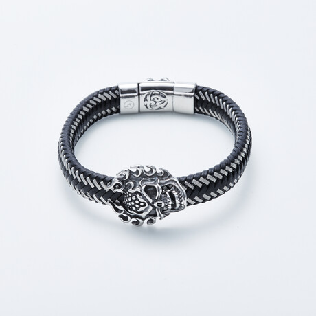 Dell Arte // Ancient Mask Charm Bracelet // Black + Silver